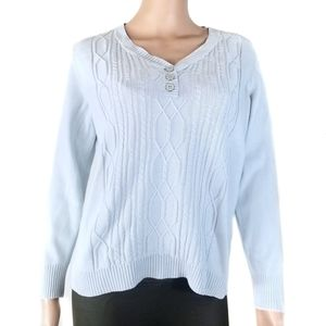 Karen Scott | Light Blue Half Button Sweater